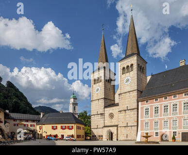 The 12th century Collegiate Church of St Peter and John the Baptist, Berchtesgaden, Bavaria, Germany - Stock Photo