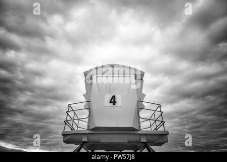 San Diego, California, USA. Close up of a lifeguard tower against a dramatic sky. - Stock Photo