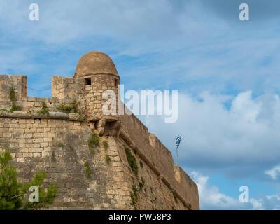 Medieval castle in Rethymno, Crete island, Greece - Stock Photo