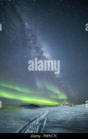 Bright colorful northern lights in the night sky. Antarctica - Stock Photo