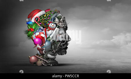 Winter holiday depression psychology or psychiatry mental health concept representing the idea of feeling depressed during Christmas New Year. - Stock Photo