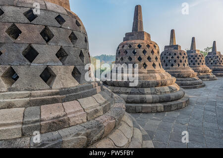Famous touristic attraction of Borobodur in Java - Stock Photo