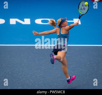 Hong Kong, China. 12th Oct, 2018. DARIA GAVRILOVA of Australia in action against Shuai Zhang of China during their quarter-final match at the 2018 Prudential Hong Kong Tennis Open WTA International tennis tournament. Zhang won 6:1, 6:3. Credit: AFP7/ZUMA Wire/Alamy Live News - Stock Photo