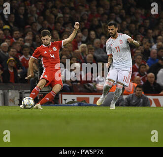 Cardiff, UK. 12th Oct, 2018. Ben Davies 4 and Suso 11 seen in action during the Friendly Football march between Wales v Spain at the Principality Stadium. Credit: Graham Glendinning/SOPA Images/ZUMA Wire/Alamy Live News - Stock Photo
