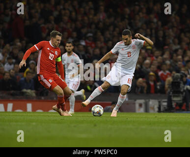 Cardiff, UK. 12th Oct, 2018. Aaron Ramsey 10 and Koke 8 seen in action during the Friendly Football march between Wales v Spain at the Principality Stadium. Credit: Graham Glendinning/SOPA Images/ZUMA Wire/Alamy Live News - Stock Photo