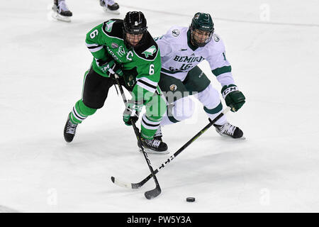 October 12, 2018 during a NCAA men's college hockey game between the University of North Dakota Fighting Hawks and the Bemidji Beavers at the Sanford Center in Bemidji, Minnesota. Bemidji State won 2-1. Photo by Russell Hons/CSM - Stock Photo