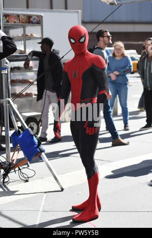 New York, NY, USA. 12th Oct, 2018. Tom Holland on location for SPIDER-MAN: FAR FROM HOME Film Shoot, New York, NY October 12, 2018. Credit: Kristin Callahan/Everett Collection/Alamy Live News - Stock Photo