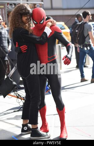 New York, NY, USA. 12th Oct, 2018. Zendaya, Tom Holland on location for SPIDER-MAN: FAR FROM HOME Film Shoot, New York, NY October 12, 2018. Credit: Kristin Callahan/Everett Collection/Alamy Live News - Stock Photo