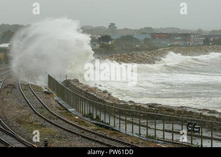 Penzance, Cornwall, UK. Saturday 13th October 2018. Highwinds , rain and huge waves hit the town for two days as storm Callum batters the UK. Credit Sam Davey/ Alamy live News - Stock Photo