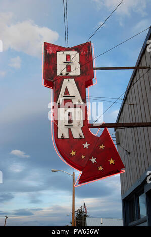 Classic neon bar sign in small town of Hot Springs, Montana, USA - Stock Photo