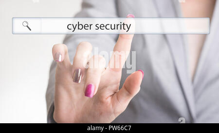 Female hand touching a web search bar with the word cyber security on a virtual screen. - Stock Photo