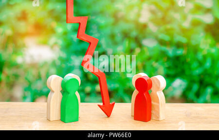The red arrow separates two opposition groups of people. The concept of a barrier between people, a conflict situation. A deal between people. Competi - Stock Photo