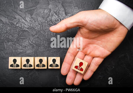 Selection of teams, the appointment of a leader. Management of business units. The dismissal of an employee. Headhunter recruits staff. The concept of - Stock Photo