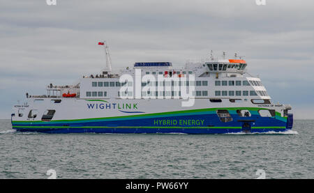 The new Wightlink car ferry 'Victoria of Wight' crossing The Solent en route from Portsmouth to the Isle of Wight on the 8th October 2018. - Stock Photo