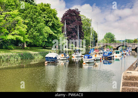 25 May 2018: Totnes, Devon, UK - Boats along the River Dart, and trees in full fresh leaf. - Stock Photo