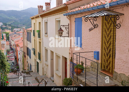 Old Houses Banyuls Sur Mer - Stock Photo