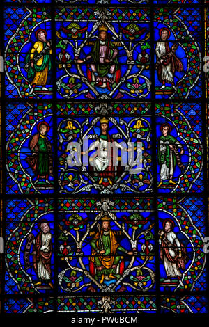 UK, Kent, Canterbury, Canterbury Cathedral interior, Trinity Chapel, Corona Chapel, Jesse Tree Window, Redemption Window, medieval stained glass - Stock Photo