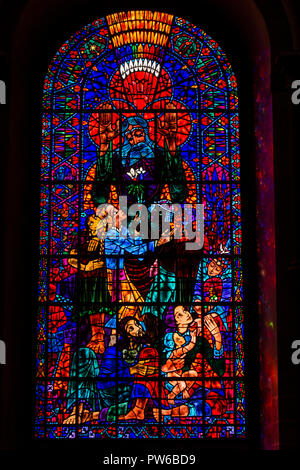 UK, Kent, Canterbury, Canterbury Cathedral interior, South East Transept, stained glass window created by Hungarian Ervin Bossanyi - Stock Photo
