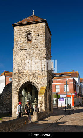 UK, Kent, Canterbury, Burgate, medieval tower of former St Mary Magdelene church in grounds of St Thomas' Catholic church - Stock Photo