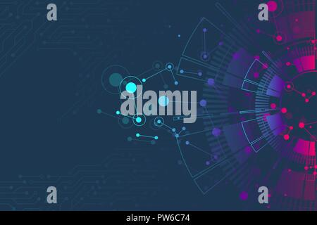 Abstract background with technology circuit board texture. Futuristic digital circle. Communication and engineering concept. Innovation technology concept design. Vector illustration - Stock Photo