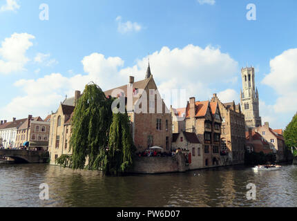 View from the Rozenhoedkaai in Bruges - Stock Photo