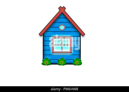 Cartoon wooden house blue with a large window and plants - cute children's illustration. - Stock Photo