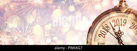 New Year 2019 - Midnight With Clock And Fireworks - Stock Photo