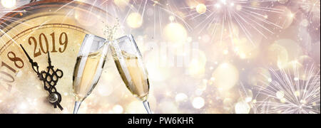 New Year 2019 - Toast With Champagne And Clock - Stock Photo
