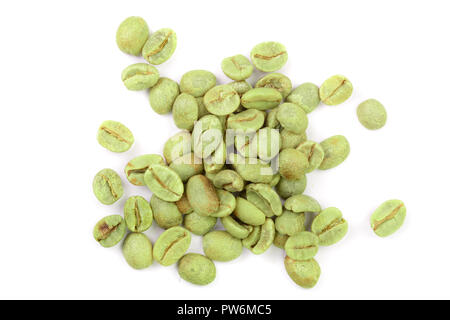 green coffee beans isolated on white background close up. Top view. Flat lay - Stock Photo