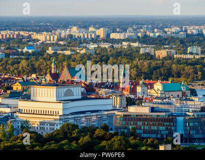 View towards the Old Town from Palace of Culture and Science, Warsaw, Masovian Voivodeship, Poland - Stock Photo