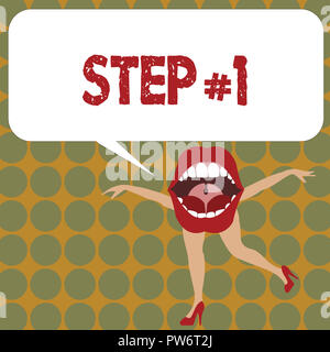 Writing note showing Step 1. Business photo showcasing Start of planned strategy Beginning Initiation Make progress. - Stock Photo