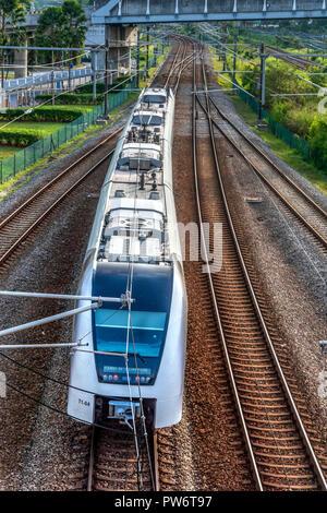 KLIA Ekspress Express train connecting Kuala Lumpur with the KLIA international airport, Kuala Lumpur, Malaysia - Stock Photo