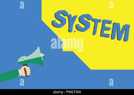 Handwriting text writing System. Concept meaning set of things working together as parts mechanism or network. - Stock Photo