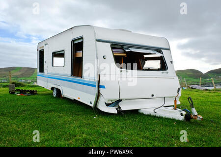 Wrecked caravan on the Irish coast - John Gollop - Stock Photo