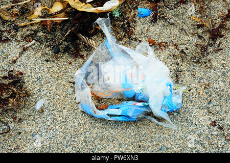 Torn plastic bags thrown away on a sandy beach - John Gollop - Stock Photo