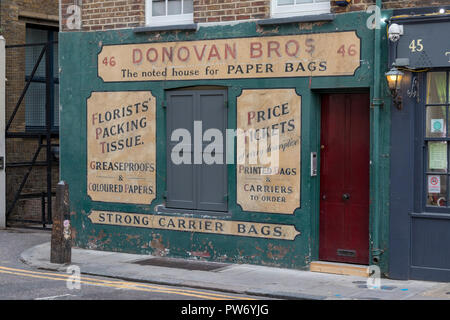 Donovan Bros paper bags shop, Crispin Street in the Old Spitalfields Market in London, England, UK - Stock Photo