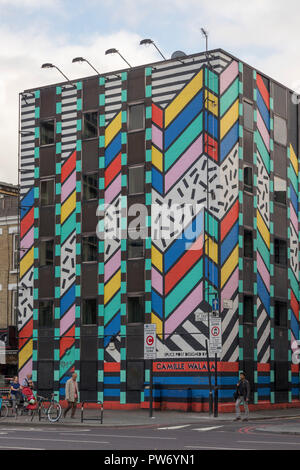 """Splice post-production company offices, with facade by Camille Walala, 'Dream Come True"""", Old Street, Shoreditch, London, England, UK - Stock Photo"""