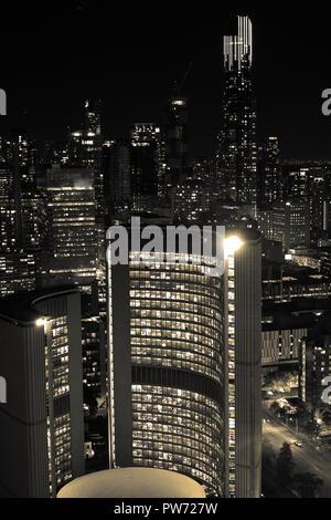 Skyline in Toronto at night - Stock Photo