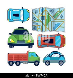 Set of Autonomous Car icons - Stock Photo