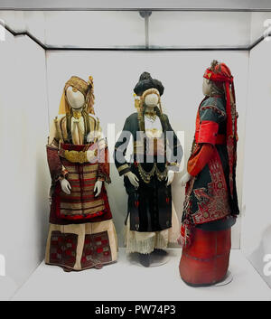Athens: October 11th. Benaki Museum : Female National  19th century costumes from Ioannina in Greece on display,  October 11th, 2018 Athens, Greece. - Stock Photo