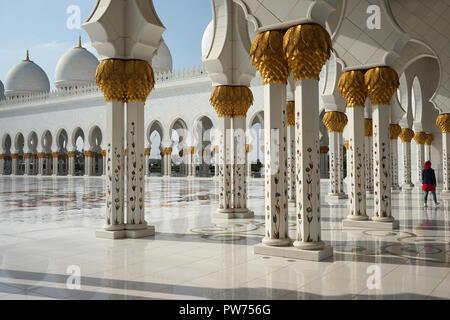 Sheikh-Zayed-Moschee, Scheich-Zayid-Moschee, Abu Dhabi, Emirat Abu Dhabi, Vereinigte Arabische Emirate, Asien - Stock Photo