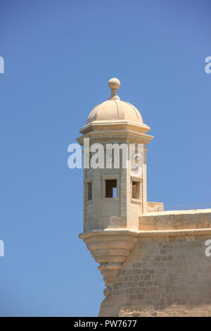 La Guardiola tower in Senglea, Malta. Three cities most attraction place on backgound of clear blue sky - Stock Photo