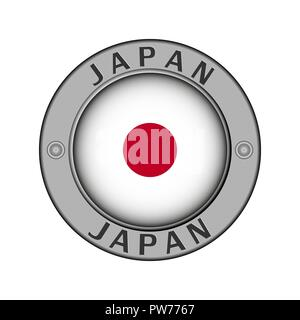 Round metal medallion with the name of the country Japan and the round flag in the center - Stock Photo