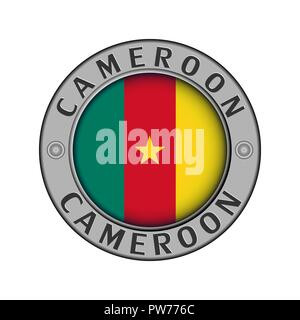 Round metal medallion with the country name Cameroon and a round flag in the center - Stock Photo