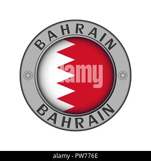 Round metal medallion with the name of the country Bahrain and round the flag in the center - Stock Photo