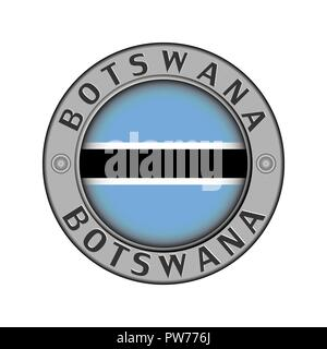 Round metal medallion with the name of the country Botswana and the round flag in the center - Stock Photo