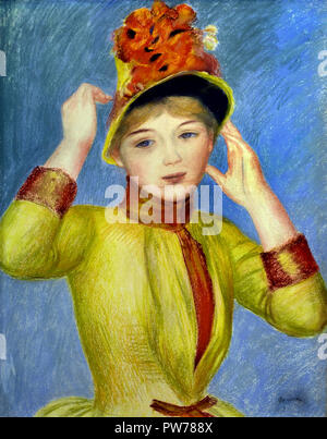 Buste de Femme, Corsage Jaune -  Woman's Bust, Yellow Bodice  1883 Pierre Auguste Renoir 1841-1919 French Impressionist France - Stock Photo