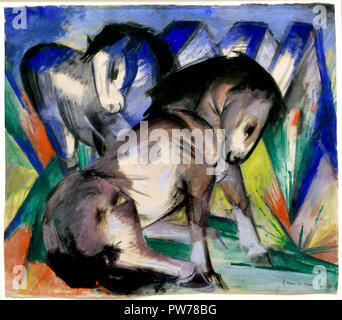 Two Horses 1913 Franz Marc 1880-1916 France French - Stock Photo