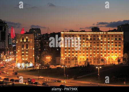 Azerbaijan; Baku; night street scene, skyline, - Stock Photo