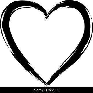 Painted Heart hand drawn sketch stock vector - Stock Photo